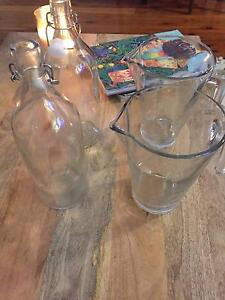 2 x  Ikea Korken Glass Water Bottles and 2 x Glass Jugs Petersham Marrickville Area Preview