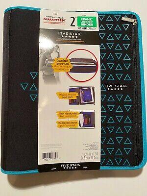 Mead Five Star 2 Xpanz Zipper Binder 380 Sheet Capacity Blueblack -brand New