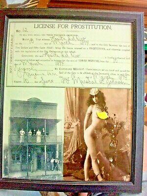 jJerome Arizona Brothel License Prostitution Framed Vintage 1894 w/ color Photo