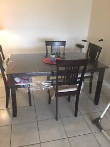 Espresso dining table with 4 chairs