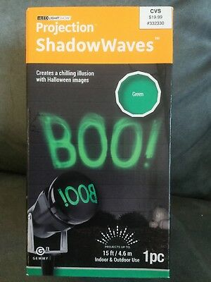 GEMMY BRAND GREEN HALLOWEEN PROJECTION SHADOW WAVES BOO 1 PIECE - NEW - Halloween Shadow Projection