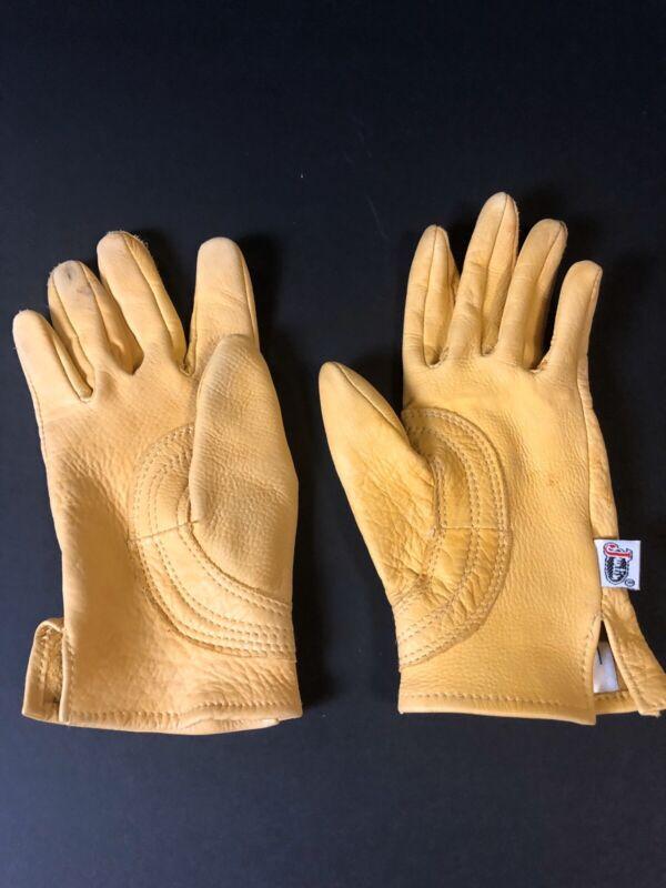 CHILDS Justin Leather Work Gloves Child's Large Western Cowboy Deer Skin Used