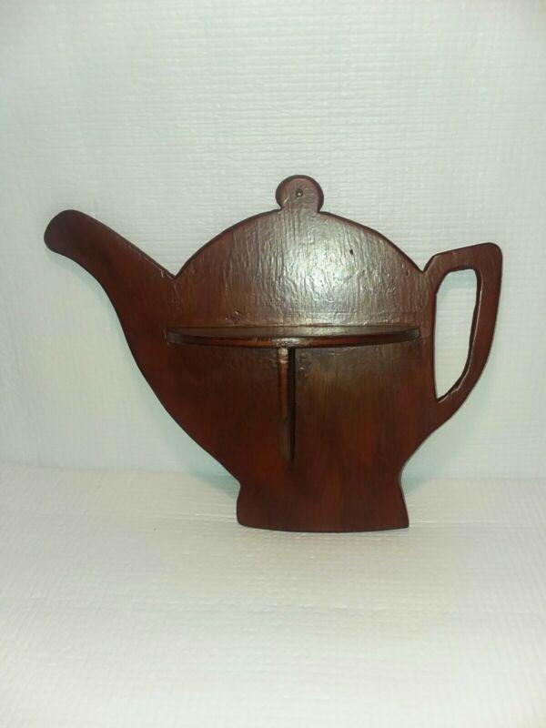 Vintage Hand Carved Wooden Teapot Shaped Knick knack Shelf