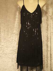 1920's Great Gatsby Style Flapper Party Dress Fringe Over Sequins - Plain Back
