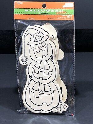 Halloween Arts Crafts Stacked Pumpkins Jack O Lantern Wood Art Coloring Kids - Kid Halloween Craft