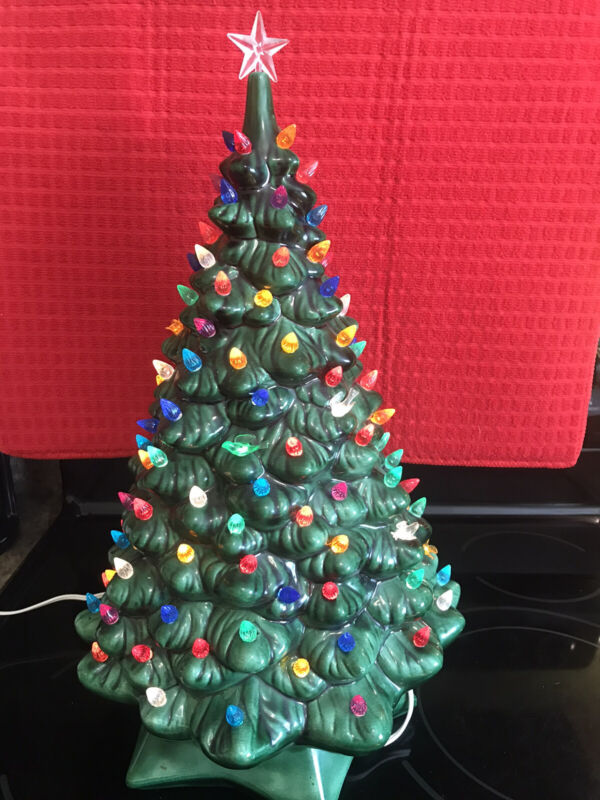 Vintage 1970's Ceramic Electrical Light Up Christmas Tree That Is Musical