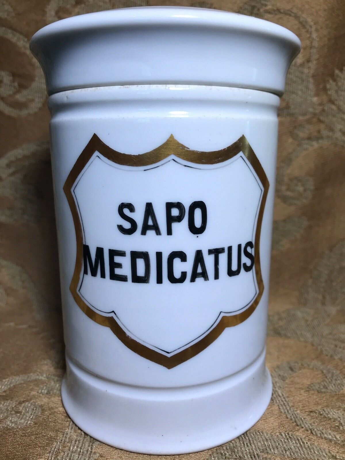 5.5 GERMAN Apothecary Porcelain Ointment Jar W/ Lid Label SAPO MEDICATUS  - $35.00