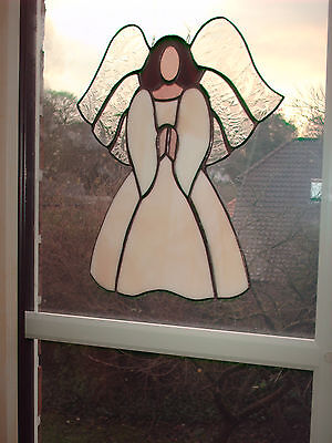 "TIFF. Fensterbild Engel, hellbeige, Schutzengel, ""Handarbeit"" edel"