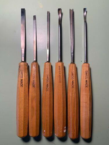 Set of 6 Pfeil Swiss Wood Carving Chisels #1, 2, 8, 10, 11, 12 - Long Handles