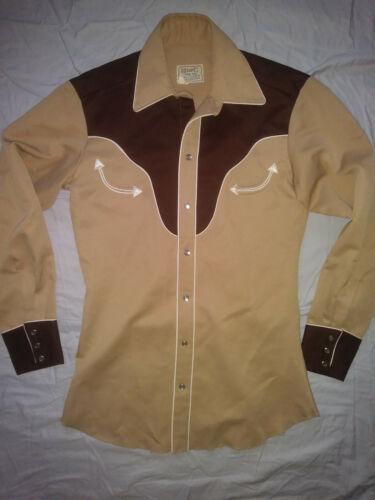 🙂VTG H BAR C Western Pearl Snap Rockabilly Rodeo Two Tone Shirt Unisex 👀