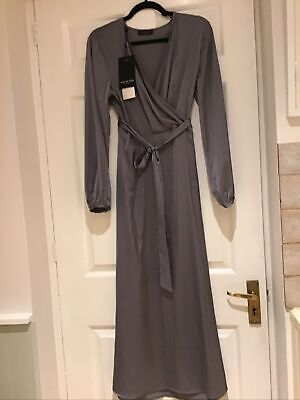 Selected Femme Satin Style Feel Grey Wrap Long Dress Sz 38 This...