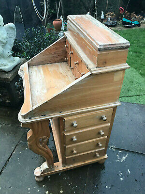 Antique Rare & Unusual Solid Oak Bureau  table with lots of draws on each side