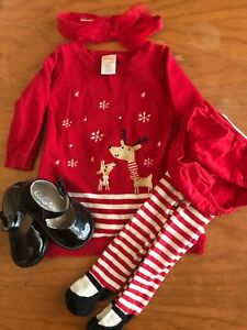 Baby's First Christmas Dress and shoes 6-12 months