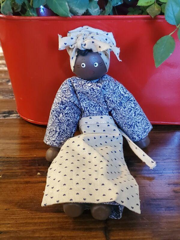 Vintage Ethnic Black Americana Clothes Pin Doll