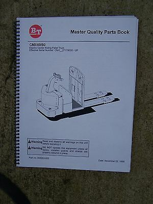 1998 Bt Prime Mover Electric Center Ride Pallet Truck Cmx60 80 Parts Manual V