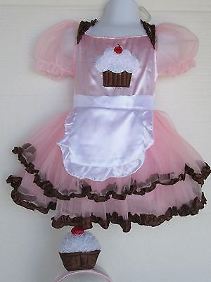Girls Cupcake Costume Tutu Dress Headband  Size 2T](Girls Cupcake Costume)