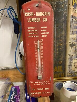 Vintage Cash-Bargain Lumber Co. Kansas City Missouri Metal Thermometer Sign GAS
