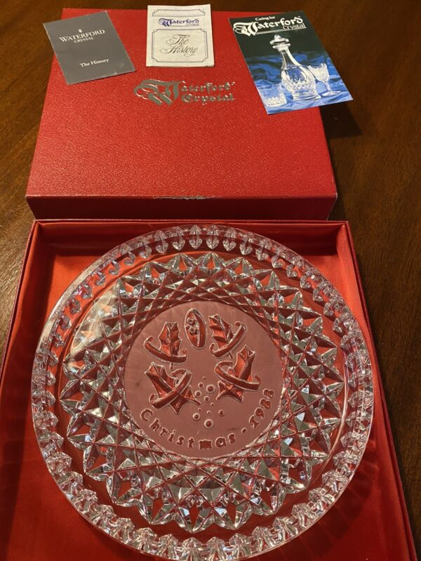 Waterford Crystal, Christmas plate, 5 Golden Rings 1988