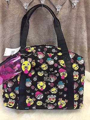 NEW! XL BETSEY JOHNSON Dog EMOJI Weekender Duffle Bag Carry On Luggage BLACK