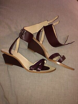 ZARA Women's Two Buckle Ankle Strap Wedge Sandals Burgundy Maroon Sz 37