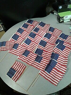 USA American Flags 24 Pack Small with Wood Pole Hand Held Stick 24 Pole Flags