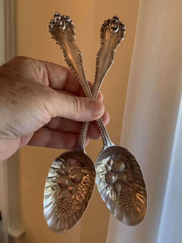 Rare Pair Sterling Silver Fruit Serving Spoons Dominick & Haff