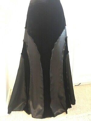 M & S Per Una black velvet maxi skirt silk mix victoriana steampunk cosplay 10