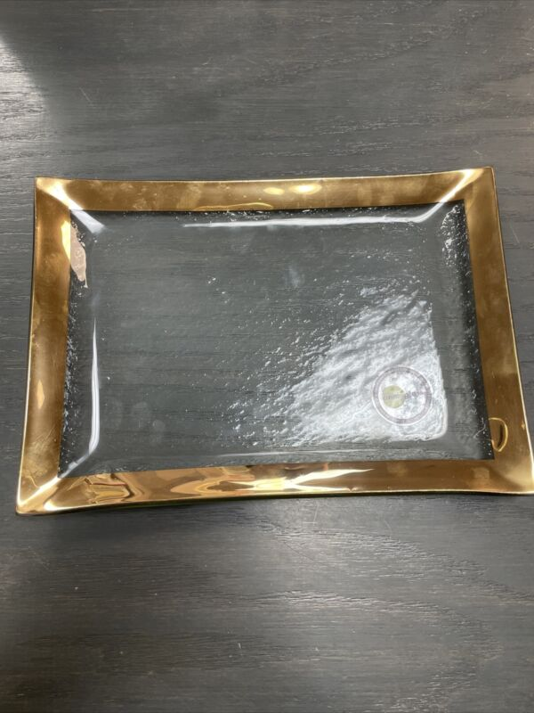 Annieglass Gold Roman Vanity Tray