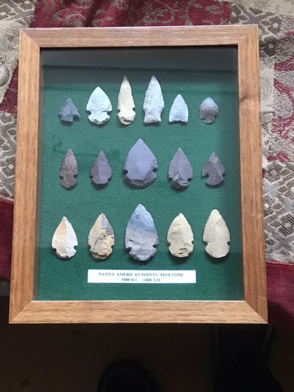 16 Native American Arrowheads In Frame Dating 5000BC-1600AD
