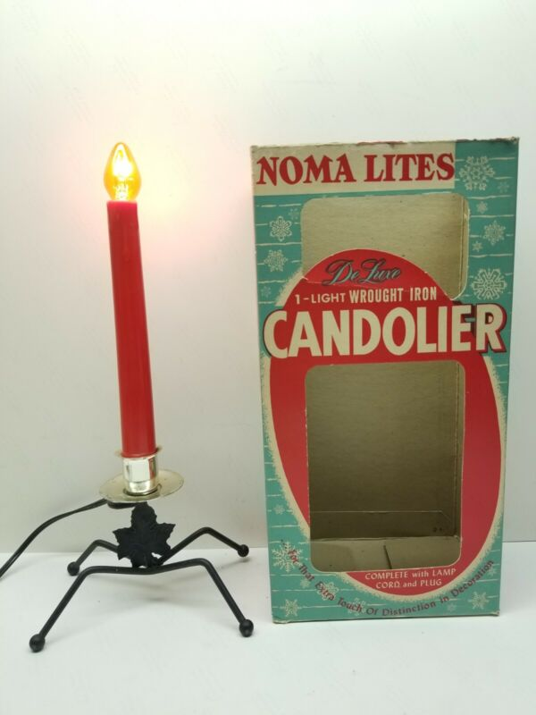1950s VINTAGE CHRISTMAS NOMA ELECTRIC CANDLE Candlier Wrought Iron DeLuxe RARE