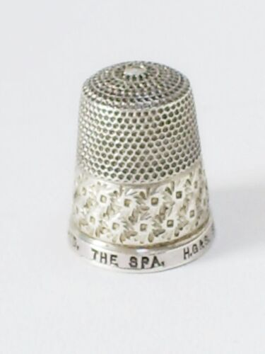 FINE VINTAGE SOLID STERLING SILVER THE SPA SIZE 19 SEWING THIMBLE/H.G &S ENGLAND