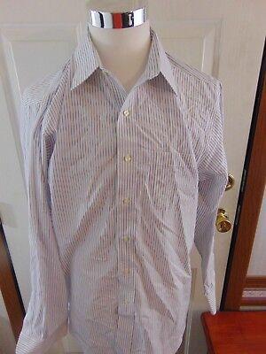 Brooks Brothers Slim Fit Non-Iron Blue White Stripe Cotton Dress Shirt 17-35