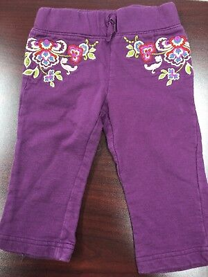 Baby Girl Guess Jean Pants Purple With Embroidery Size 12 M 100% cotton Baby Guess Jean