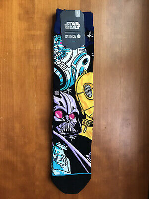 NWT Stance STAR WARS WARPED R2D2 Men's Crew Socks DARTH VADER C3PO Sz L