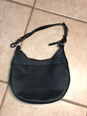 Vintage Ralph Lauren Green/Blue Plaid Women's Shoulder Hand Bag Purse Zip NICE!