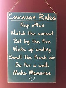 Caravan Camper van Rules Travel Holiday Novelty Gift Wooden Hanging Plaque Sign