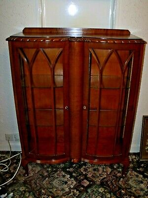 Vintage Walnut double Bow Fronted Glass China Display Cabinet 1930s Leeds 25
