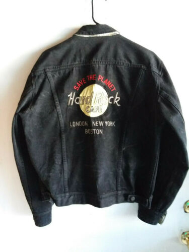 Vintage Hard Rock Cafe Save The Planet London New York Boston Denim Jacket SZ 40