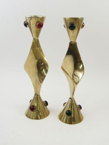 Vintage Mid Century Modern Solid Brass Twirl Candlestick Jeweled Pair Boho