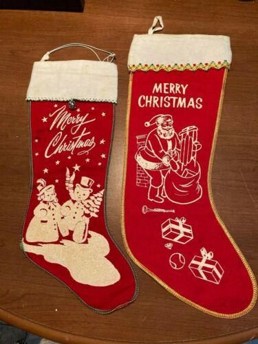Set of 2 Vintage Christmas stenciled stockings