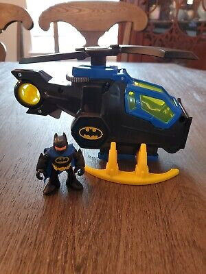 Fisher Price Imaginext DC Super Friends Batman Batcopter helicopter figure euc