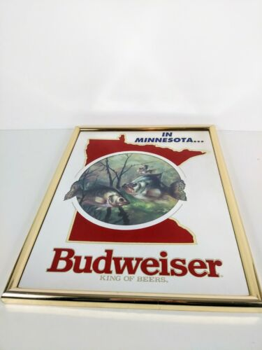 1992 Minnesota Budweiser King of Beers State & Crappies Wall Mirror