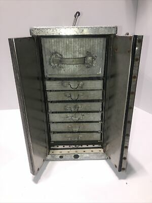 Vintage Antique Metal 7 Tray Top Hatch Egg Incubator Cabinet