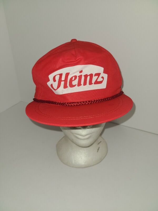 Old Vintage 1980s RED HEINZ KETCHUP ADJUSTABLE TRUCKER HAT CAP MADE IN USA