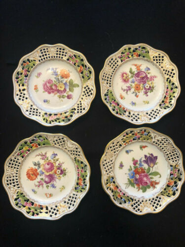 Dresden Porcelain Hand Painted Floral Set of 4 Reticulated Plates