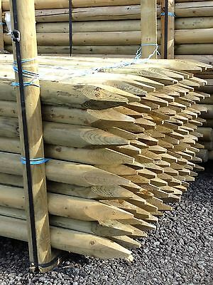 TREE STAKE 10 PACK OF 1.8m x 75mm MACHINE ROUND POINTED GARDEN TIMBER FENCE POST