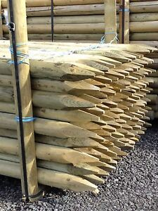 TREE STAKE 10 PACK OF 1.8m x 50mm MACHINE ROUND POINTED GARDEN TIMBER FENCE POST