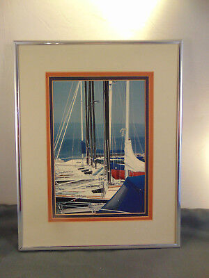 "Silver framed matted docked Sail Boats overall size 11 1/4"" x 14 1/4"" no glass"