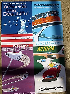 4 DISNEY Attraction Posters 12 x 18