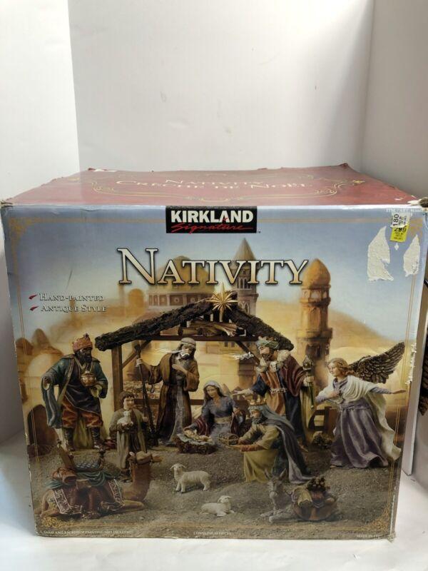 Kirkland Signature Large Nativity Scene Hand Painted 19 Piece Set Antique Style